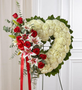 Always Remember Floral Heart Tribute - Red Roses & Standing Sprays & Wreaths