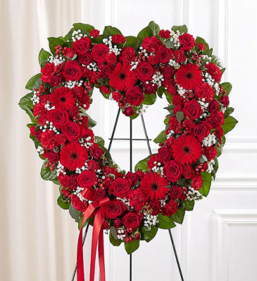 Always Remember Floral Heart Tribute - Red Standing Sprays & Wreaths