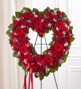 Always Remember™ Floral Heart Tribute- Red Standing Spray