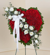 Always Remember Floral Heart Tribute - Red with Wh Standing Sprays & Wreaths