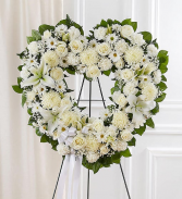 Always Remember Floral Heart Tribute - White  Standing Sprays & Wreaths