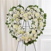 Always Remember Floral Heart Tribute- White Sympathy Arrangement