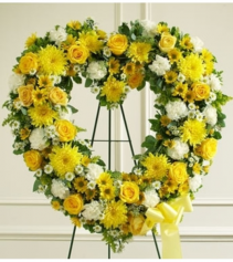 Always Remember Floral Heart Tribute - Yellow Standing Spray