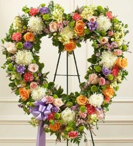 Always Remember Heart Pastel Standing Spray, Funeral Flowers
