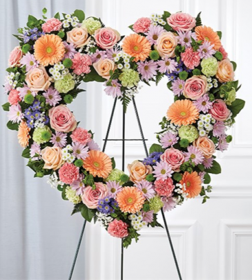 Always Remember Pastel Floral Heart Tribute