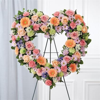 Always Remember Pastel Floral Heart Tribute  Item #91238
