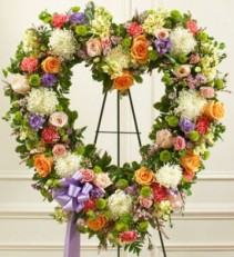 Always Remember Pastel Floral Heart Tribute sympathy flowers