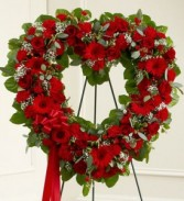 Always Remember Red Floral Heart Tribute sympathy flowers