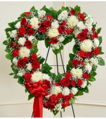 Always Remember Red & White Floral Heart Tribute Standing Spray