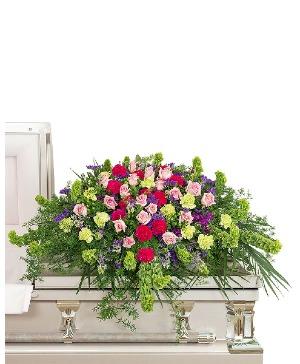 Always Remembered Casket Spray Sympathy in Nevada, IA | Flower Bed