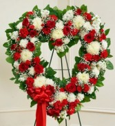 Always Remembered Red & White Open Heart Standing Spray