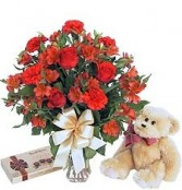 """Always Thinking of You "" Roses, Teddy & Chocolates"