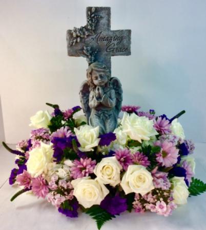 Amazing Grace Angel Cross Sympathy Arrangement