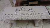Amazing Grace Cement Garden Bench