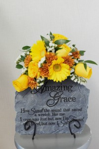 Amazing Grace Stone  Garden stone with flowers