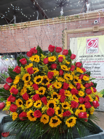 amazing rose and sunflower basket