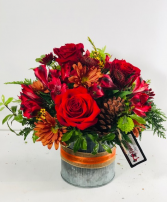 Amber Autumn Container Arrangement