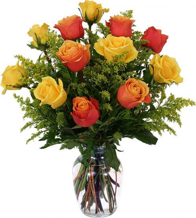 Amber Dozen Rose Arrangement Roses