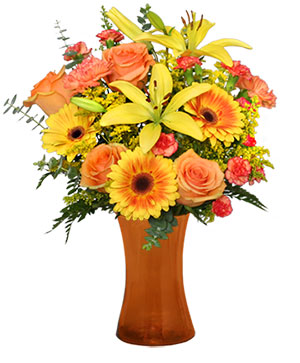 Amber Sky Flower Arrangement in Tyngsboro, MA | BLOSSOMS