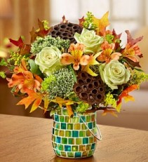 Autumn Winds Mosaic Vase/Re-purpose to a Canldeholder!