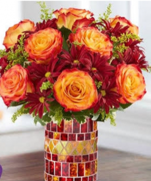 Amber waves Orange roses and fall pomps in Elyria, OH | PUFFER'S FLORAL SHOPPE, INC.