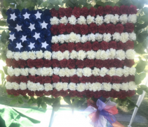 "AMERICAN FLAG STANDING FUNERAL PC ON A 5'-6"" STAND"