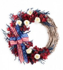 Americana Wreath With Ribbon