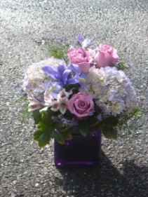 Amethyst and Roses Hydrangea, Iris, Roses & Alstromeria in Purple Cube