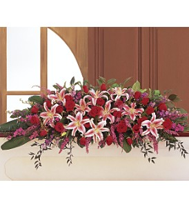 Amethyst and Ruby Casket Spray     TF205-1 Funeral Arrangement