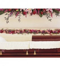 Amethyst and Ruby Hinge Spray     TF205-3 Funeral Arrangement