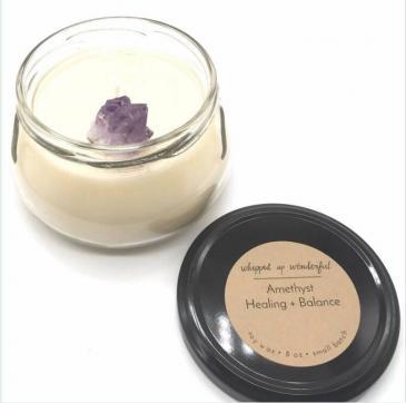 Amethyst healing stone candle-healing + balance