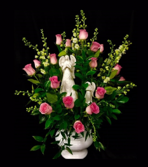 Among The Angels Pink Roses with Ceramic Angels in Plainview, TX | Kan Del's Floral, Candles & Gifts