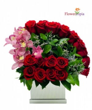 Amor Especial Nuevo!! Luxury Box Of Roses & Orchids in Miami, FL | FLOWERTOPIA
