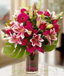 Loving those Lilies! Vased Arrangement Semi-Compact