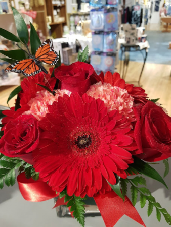 Amour Toujour Red Roses and red Gerberas