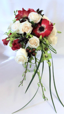 Anemones, roses, berries & orchids Bridal Bouquet
