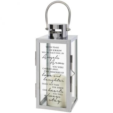 """Angel Arms"" Silver LED Lantern"