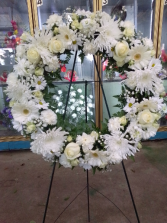 Angel cross Large white stand wreath