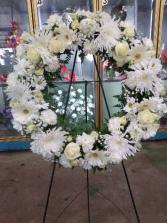 White wreath Large white stand wreath