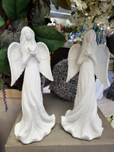 "Gift-Angel Figurines Handcrafted Bisque Figures approx 14"" high"