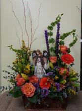 Angel garden sympathy table arrangement