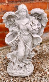 Angel Holding Basket Stone