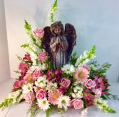 Angel Statue Sympathy Arrangement