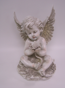 Angel Statue with Bird Memorial Stone