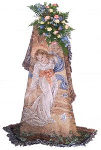Angel Tapestry w/ smaller top arrangement Sympathy Arrangement/Funeral Flowers