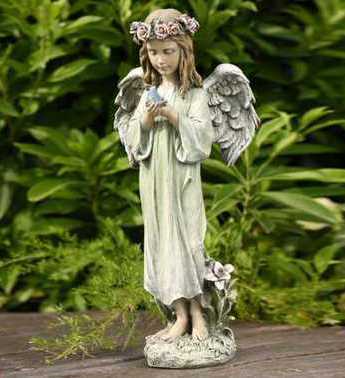 Angel with Bluebird Gift