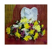 "Angel with Flowers 16"" x 15"" Memorial Stone"