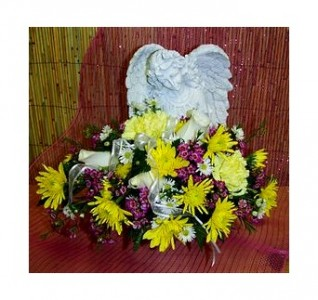 """Angel with Flowers 16"""" x 15"""" Memorial Stone"""