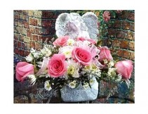 "Angel with Roses 13"" Memorial Stone"