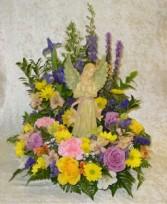 Angel with Wreath Funeral Arrangement